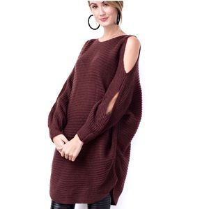 Chunky Knit Oversized Cold Shoulder Sweater